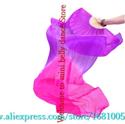 2016 female high quality Chinese silk veils dance fans Pair of belly dancing fans cheap hot sale Purple + Rose(China (Mainland))