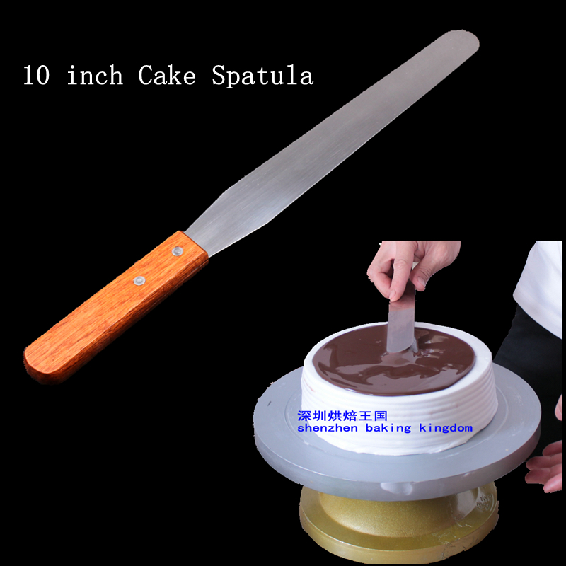 Stainless steel handle 10 inch KNIFE rubber sword kiss cake baked cake mould tool offset spatula 1pc(China (Mainland))