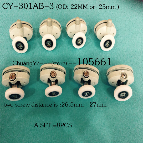 (A SET of 8pcs )Nylon shower door roller CY-301AB-3(China (Mainland))