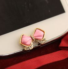 Hot Sale New Bling Rhinestone Mobile Phone Stickers Home Button Sticker For Galaxy S3/S4 Note With Bowknot Bow Pattern Pink(China (Mainland))
