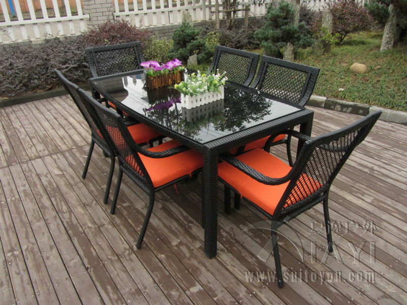 7 pcs Outdoor / Indoor Rattan Garden Dining Sets , Country Style Table Set transport by sea(China (Mainland))