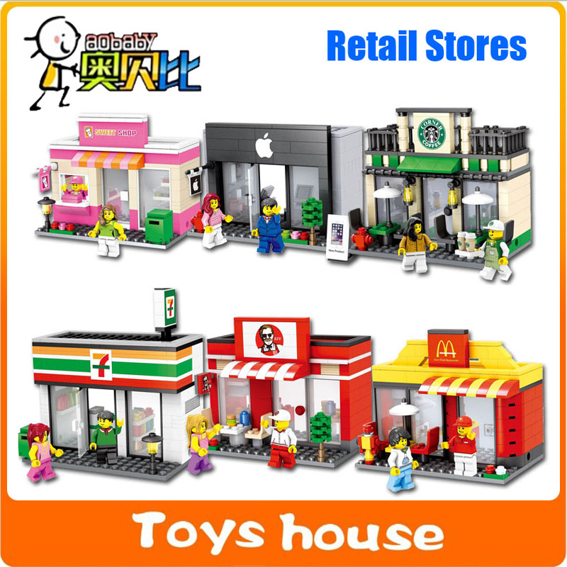 Mini Street Model Store Shop City Series with Minifigure McDonald`s Apple Store Building Block Toys Compatible Hsanhe(China (Mainland))