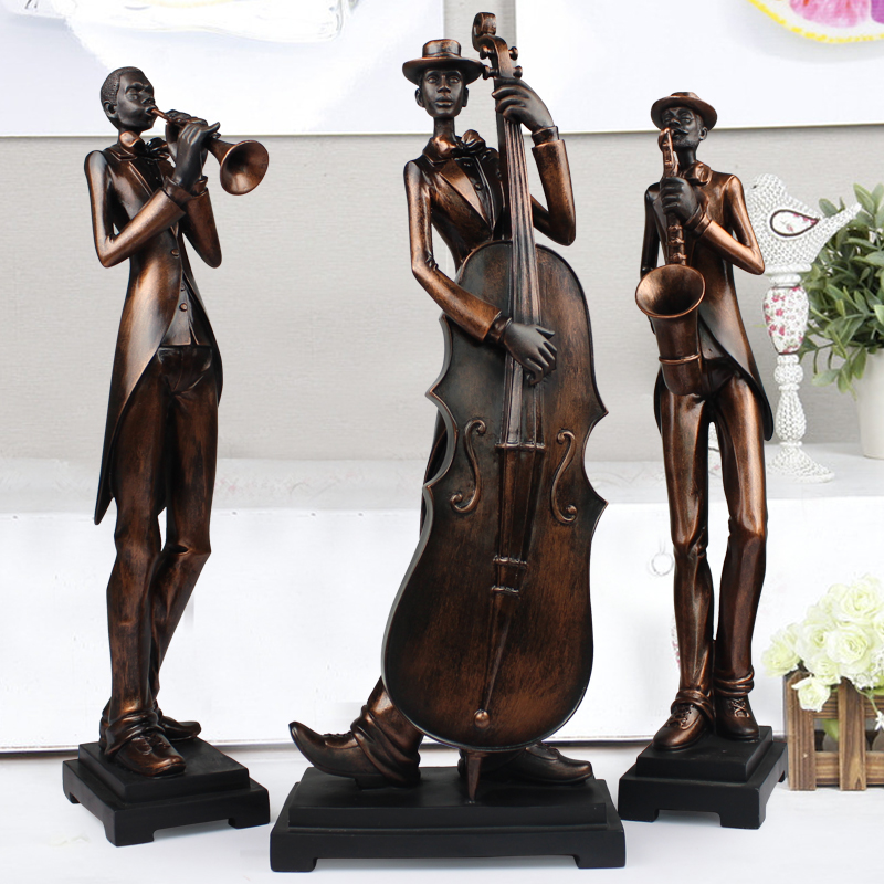 Characters sculpture, art decoration, luxury living room furnishings, statue, home decor, music, simple,modern ornament 3pcs/set(China (Mainland))
