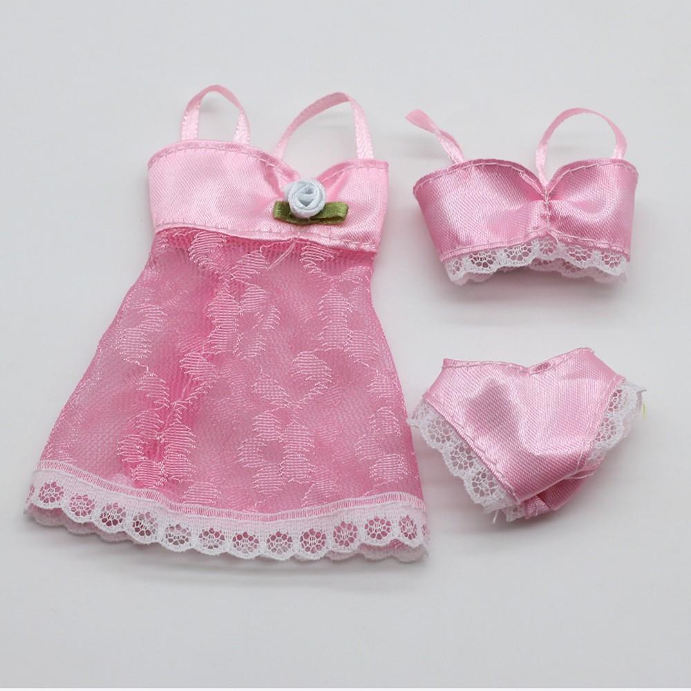 1Sets pink coloration Horny Pajamas set Lingerie Nightwear Lace Evening Costume + Bra + Underwear bikini Garments For Barbie Doll