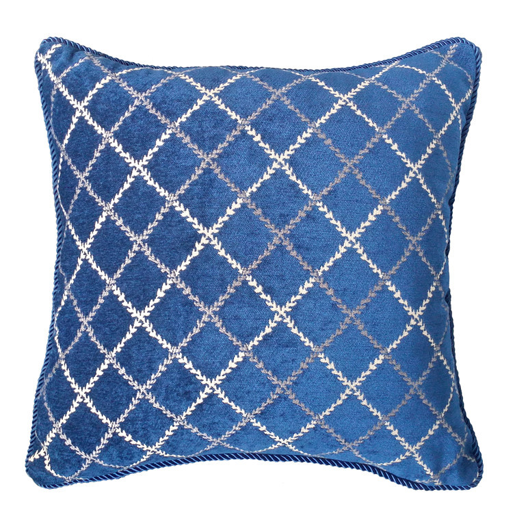 2016 Blue Diamond Lattice Jacquard Woven Chenille Decorative Pillow Case Square Cushion Cover 45 x 45