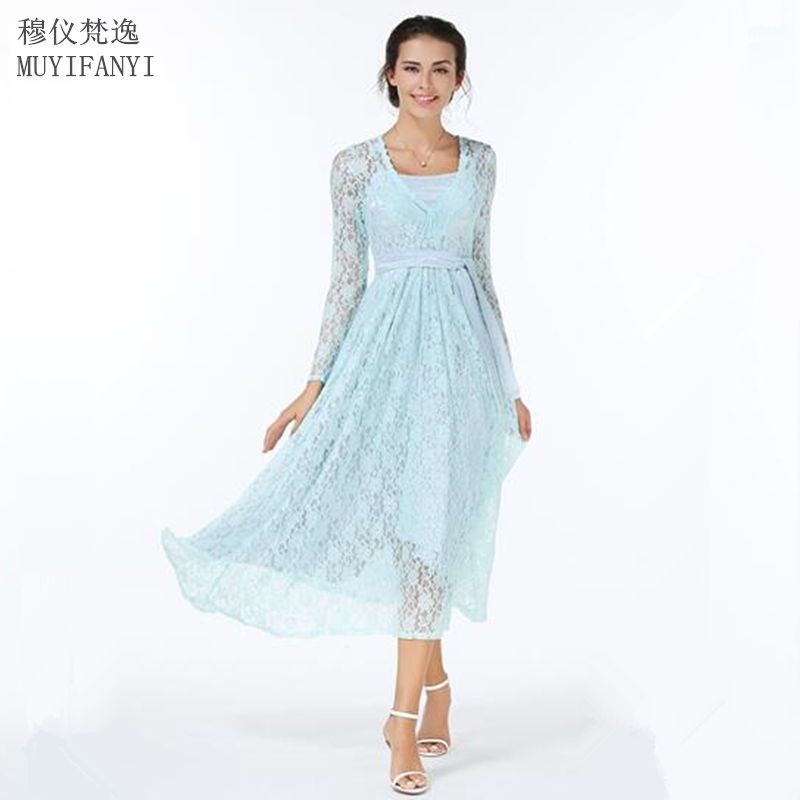 Popular Light Blue Lace Dress with Sleeves-Buy Cheap Light Blue ...