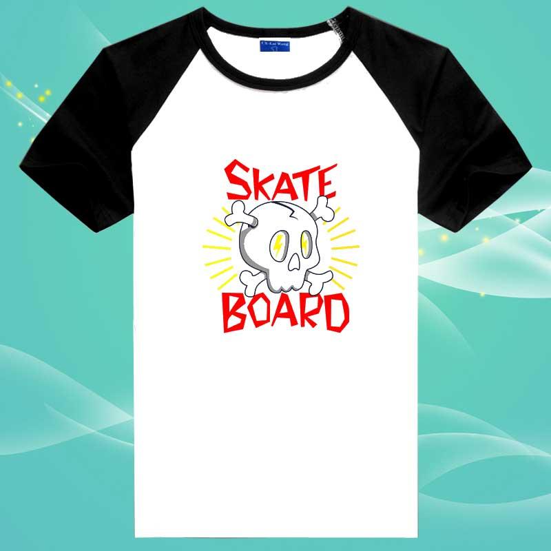 Skateboard Skull Logo Cotton T Shirts O Neck Skate Sport Tops 2016 Men Brand New(China (Mainland))