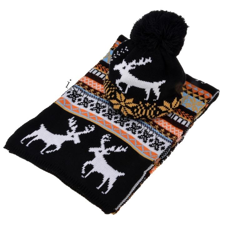 2015 Stylish New Women's Ladies Sweet Deer Pattern Winter Warm Thickening Knitted Long Scarf Shawl + Ski Hat Set(China (Mainland))