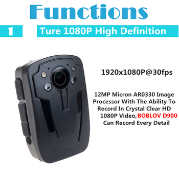 BOBLOV D900 64GB Police Cam DVR Hands Free Police Body Security Worn Camera HD 1080P Video Recoder Mini Camcorder Night Vision 10