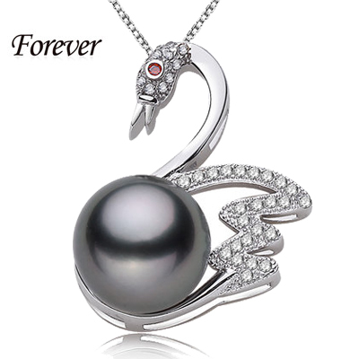 Romantic Love Swan Black Pearl Pendant with 925 sterling silver box chain for women jewelry 10-11 mm stone animal cz necklace(China (Mainland))
