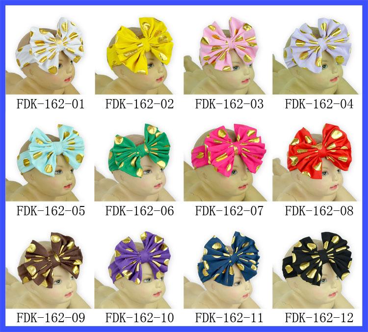 Gold polka dot messy bow headband bulk top knot gold fabric floppy headbands(China (Mainland))