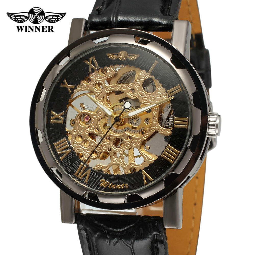 T Winner Men s Watch Fashion Mechanical Leather Crystal Steampunk Analog Classic Band On Sale Wristwatch