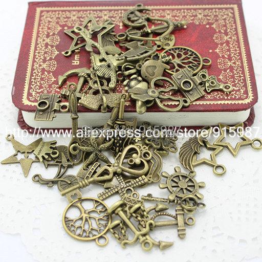 Гаджет  60-80pattern Mixed 100pcs Assorted Carved Charms Pendants Beads Metal Alloy Pandent Plated Antique Bronze  Diy Bead None Ювелирные изделия и часы