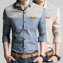 Pria musim semi kemeja baru 2016 merek Fashion pakaian Pria lengan panjang kemeja kasual Blus katun