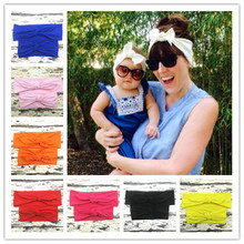 Buy Mom Rabbit Ears knot elastic Hair bands Tie Bow Headband Hair Hoop Stretch Knot Bow Cotton Child headbands Accessories for $2.07 in AliExpress store