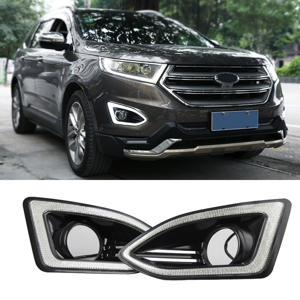 Фотография luckeasy drl for ford edge 2015 special LED daytime running lights lamp fog light  car modification