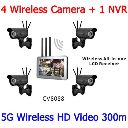 300m 720p 5Ghz 4 Receiver 1 Transmitter Wireless HD Video Surveillance Solution 300m Wireless HD Video Surveillence CCTV(China (Mainland))