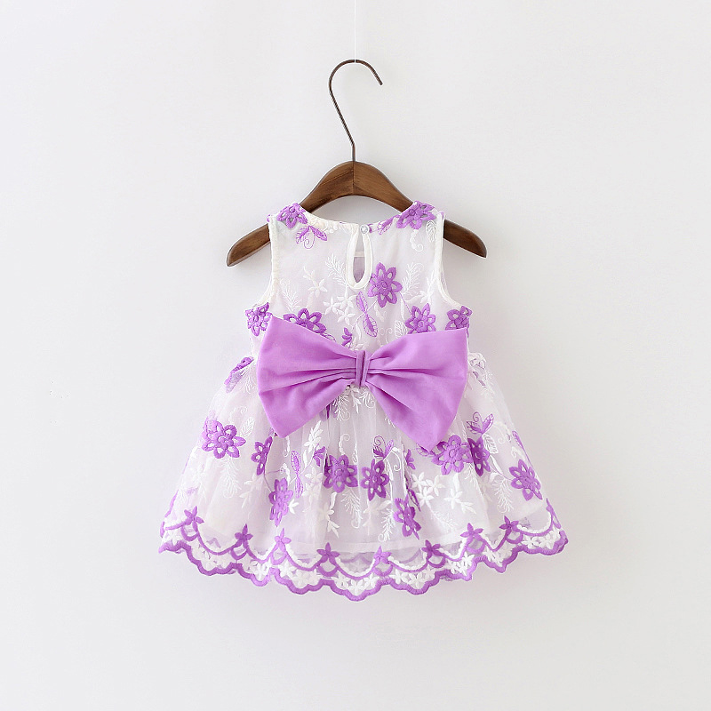 0-2 Years Baby Princess Summer Girl Tutu Dress For Baby Girl 1 Year Birthday Party Gown Cute Bow Baptism Dress For Toddler Girl(China (Mainland))
