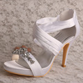 Wedopus Platform Sandals Wedding Shoes Ladies Heels Ankle Strap Heels with Crystal