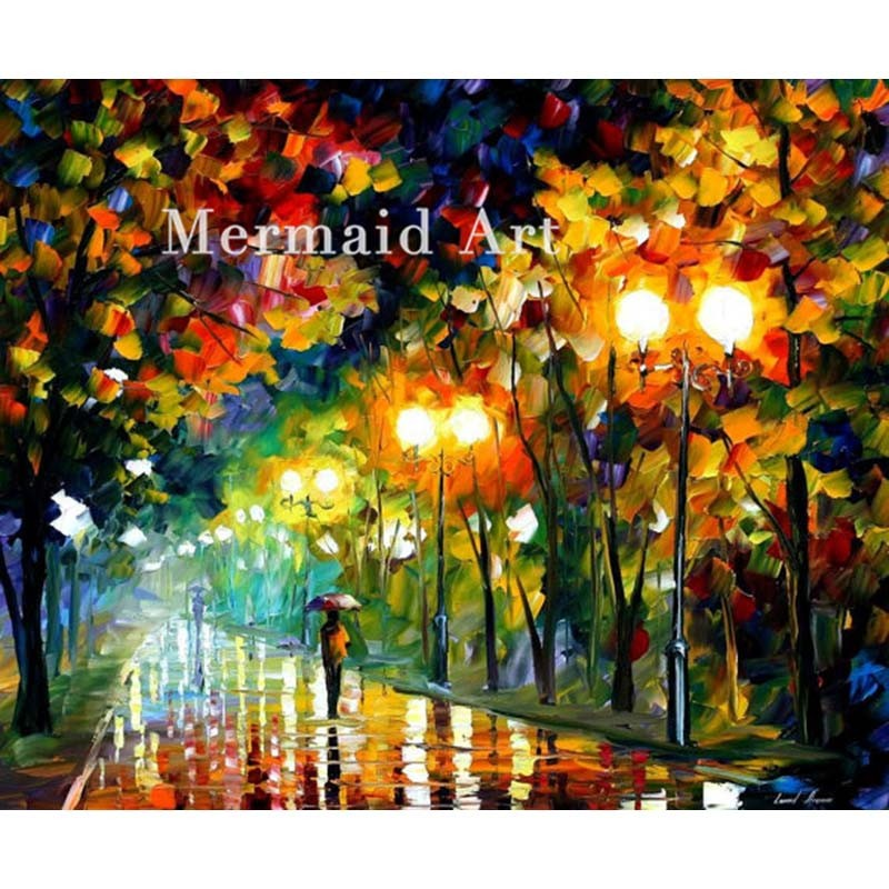 Buy Hand Painted Landscape High Quality Abstract Palette Knife Night Park Oil Painting Canvas Decoration Living Room Artwork Fine cheap