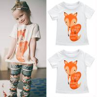2016 Animal Fox Print Baby Kid Boys Girls Short Sleeve Tops T-Shirt Tees Blouse 1-6Y