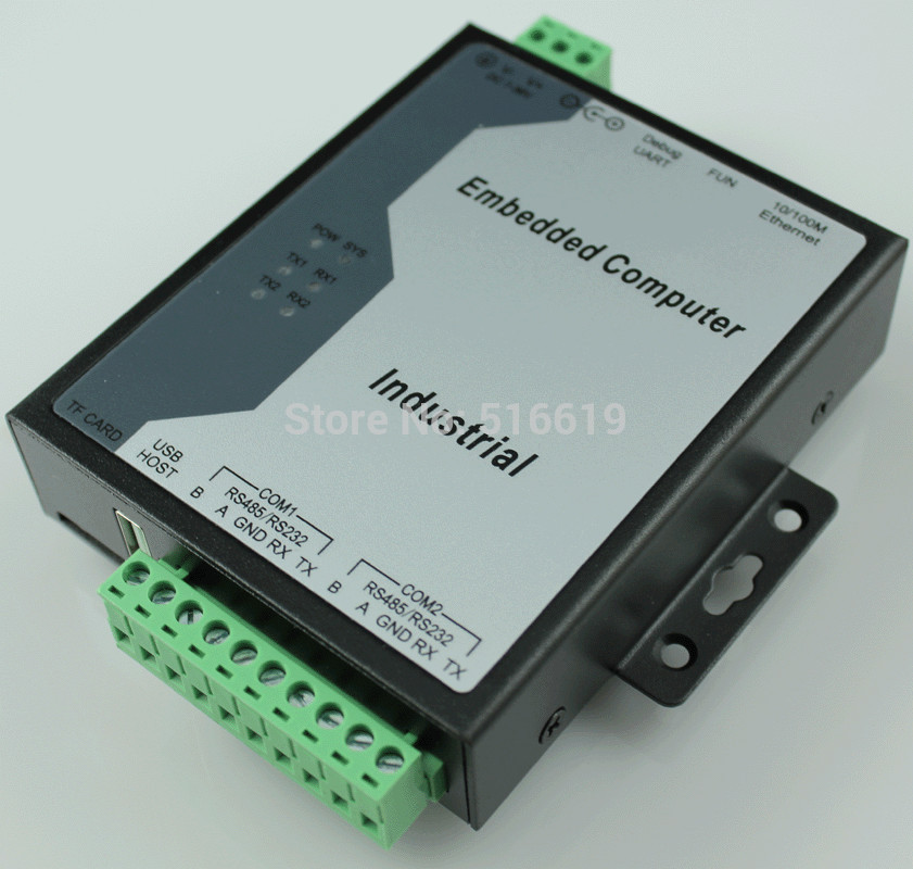 Free shipping Embedded industrial computer serial port server serial to Ethernet RS485 to Ethernet ARM(China (Mainland))