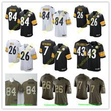 2016 men's Pittsburgh Steelers #84 Antonio Brown #7 Ben Roethlisberger, 100% stitched logo kids black white #26 LeVeon Bell(China (Mainland))