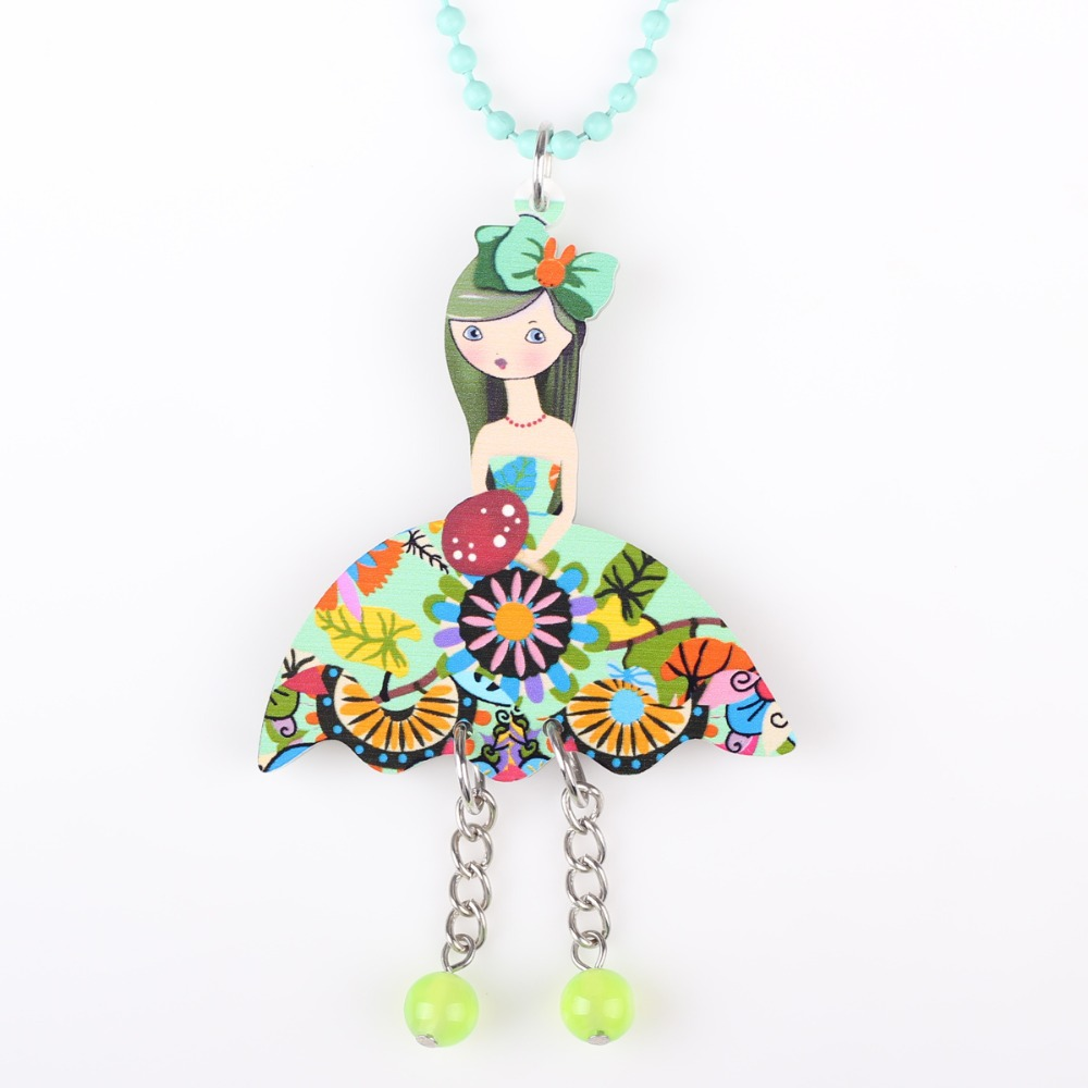 Newei Long Chain France Girl Necklace Pendant Acrylic New 2015 Fashion Jewelry For Women Choker Charm Collar Figure Accessories(China (Mainland))
