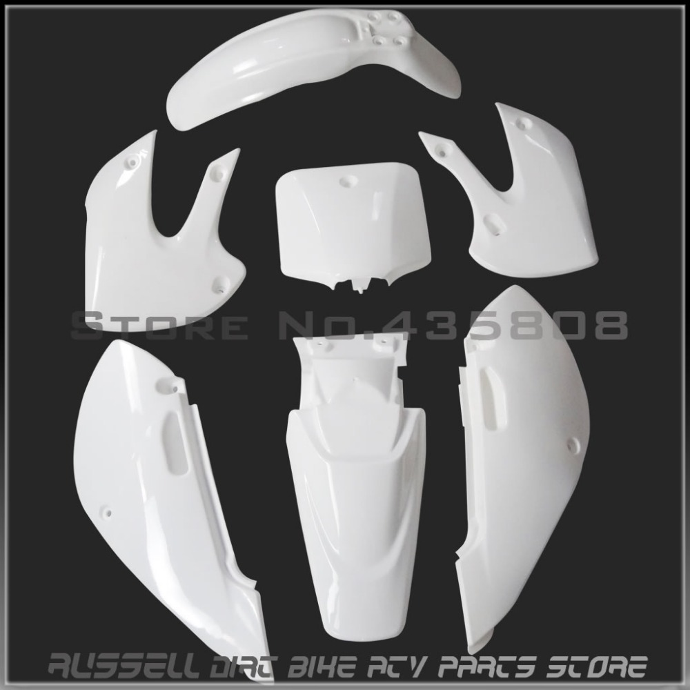 High performance WHITE KLX110 dirt bike plastic kits Free shipping plastic covers for Kawasaki motorcycle Pit bike plastic parts(China (Mainland))