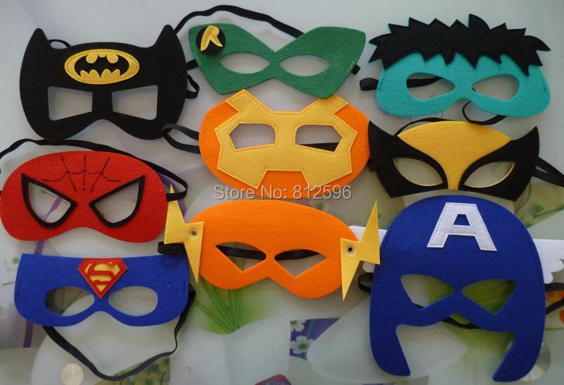 2015 New Set 9 Party Costume Felt Superhero Eye Mask Headband Teenage Women Adult Captain America Spiderman Batman Hulk Robin(China (Mainland))