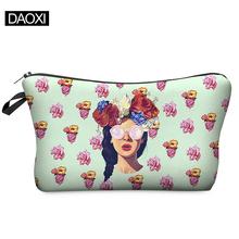 Impressão 3D de maquiagem bolsa com Multicolor padrão bonito cosméticos Pouchs para senhoras viagem bolsa mulheres saco de cosmética