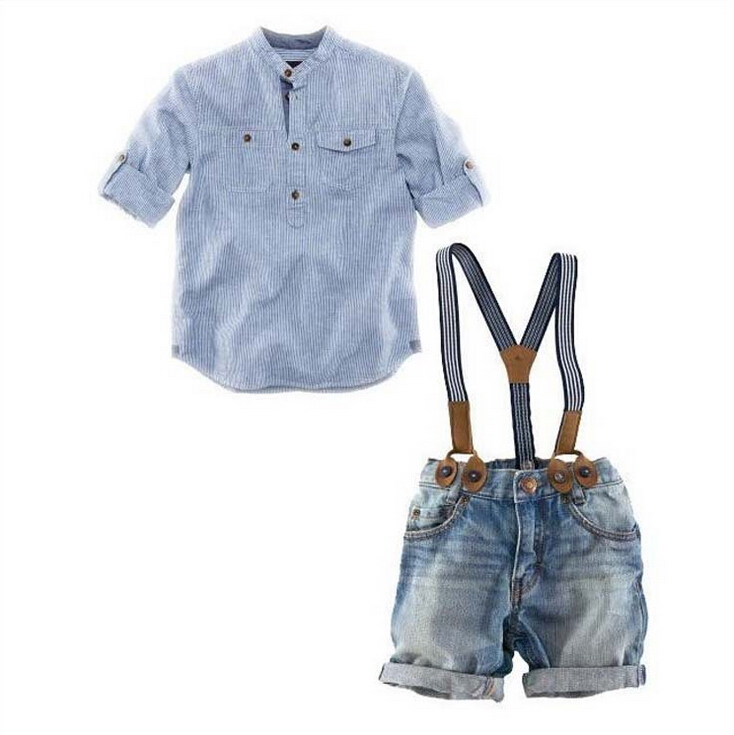 2015 summer children clothing sets boys clothes cotton shirt+denim overalls handsome 2pcs boy sets branded kids wears fot boys(China (Mainland))