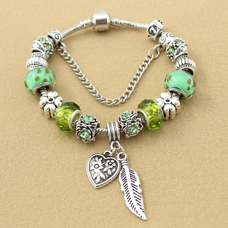 Glass Charm Bracelets Charm Bracelet Green Glass