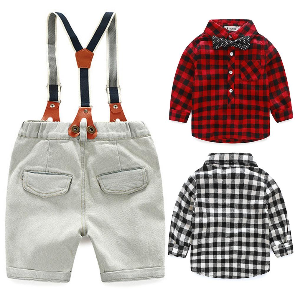 Vintage London Style Childrens Button Decorated 2Pcs Denim Suspender Pants +Plaid T-shirt Boys School Clothing Set(China (Mainland))