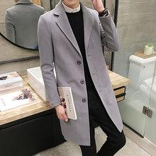 2019 осень и зима новый мужской модный бутик однотонный деловой повседневные шерстяные пальто/мужские элитные тонкие куртки для отдыха(China)
