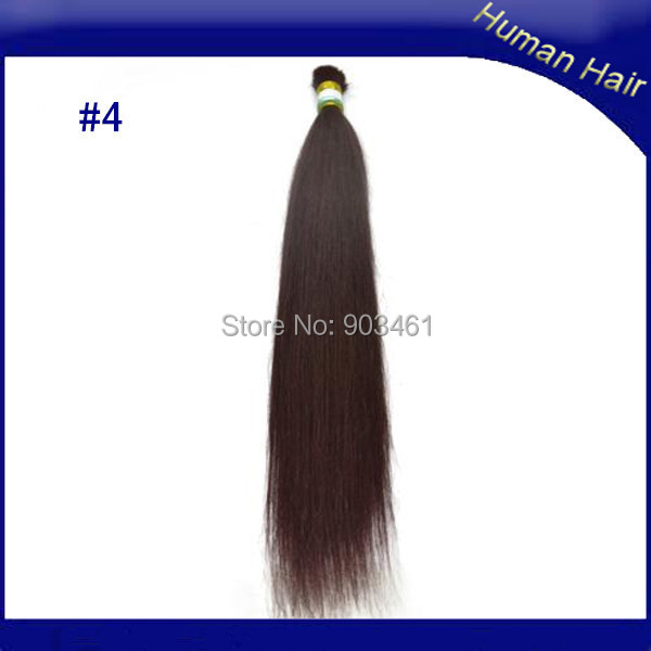 High Quality Full Ends Remy Real Hairpiece 100g/pc 8-32 Inch #4 Dark Brown Brazilian Bulk Hair Extensions Without Weft(China (Mainland))