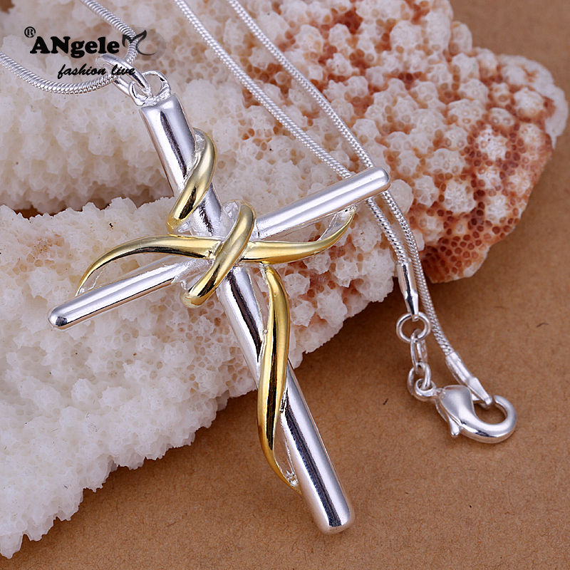 2015 New Arrival Beautiful And Stylish Women Dichroic Twisted Rope Cross Pendant 925 Sterling Silver Jewelry Wholesale(China (Mainland))