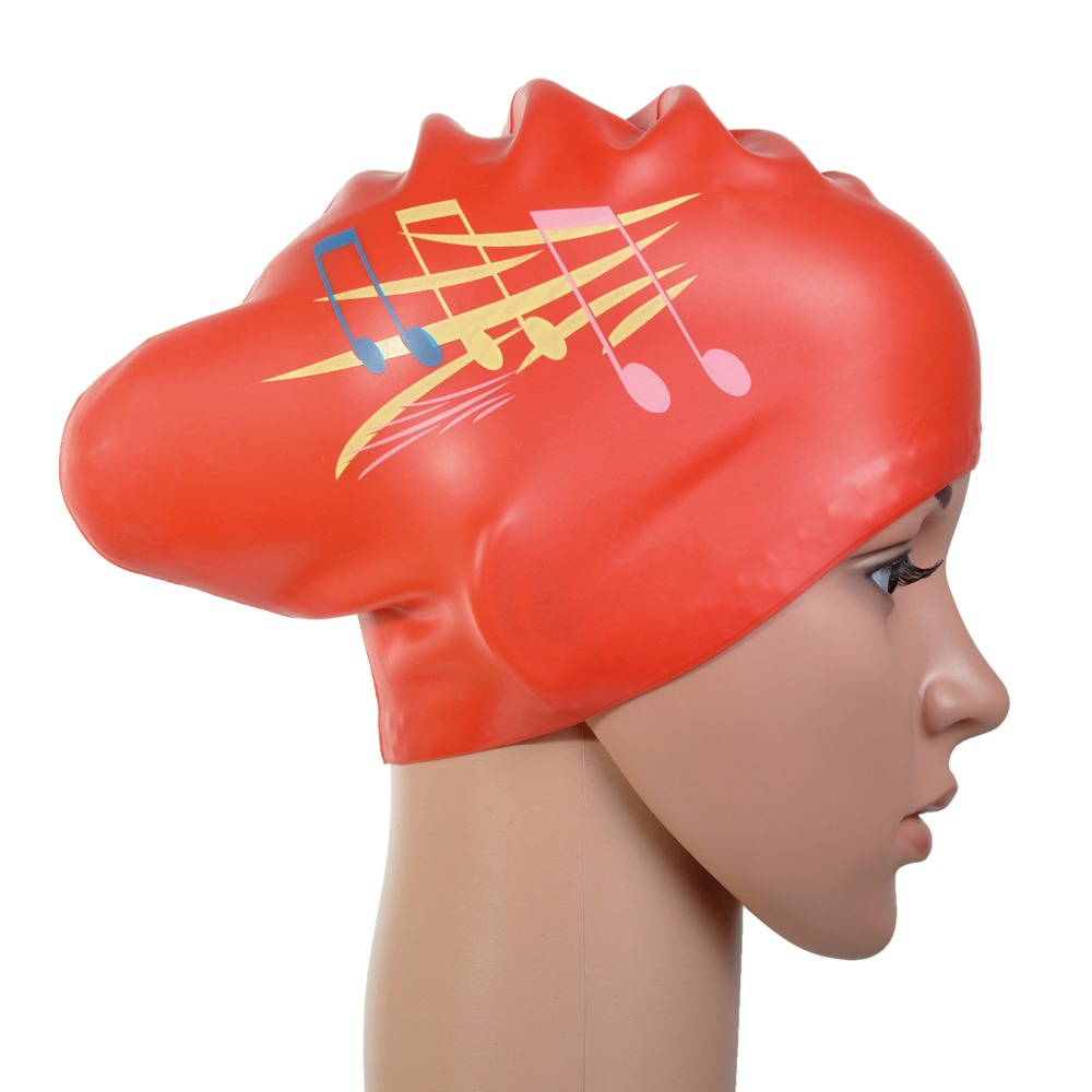 Musical note printed Waterproof Silicone Swim Cap / Hat for Girls Ladies Women Long Hair With Ear Cup Swiming red color PD535(China (Mainland))