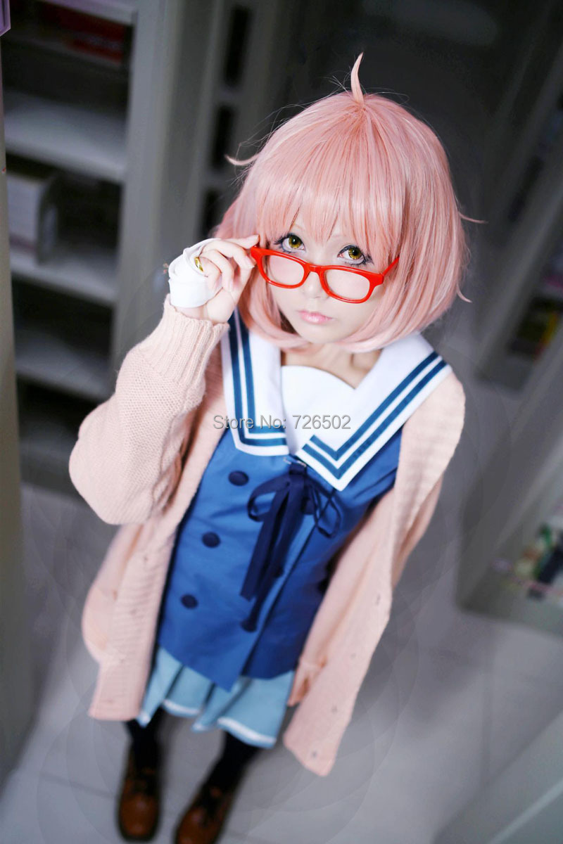 [xiaomo]  Kyokai no Kanata Kuriyama Mirai Pear high temperature wire cosplay wig short pink anime wigs costume<br><br>Aliexpress