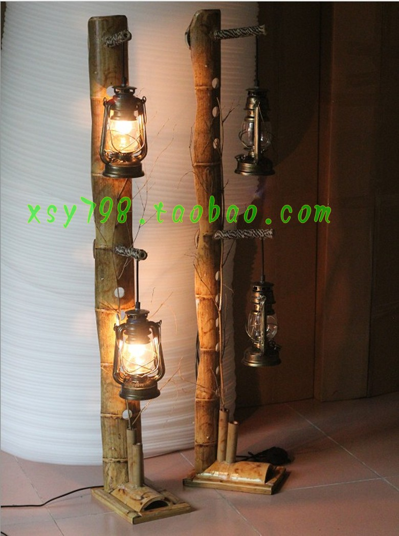 Natural Bamboo Floor Bedroom Bedside Lamp Creative