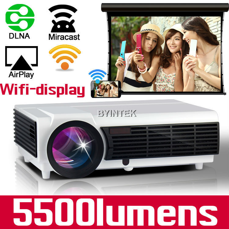 Wireless projection 5500lumens 1280x800 Cinema Video HDMI USB VGA TV Full HD 1080P Home Theater wifi 3D lEd 96 Projector(China (Mainland))
