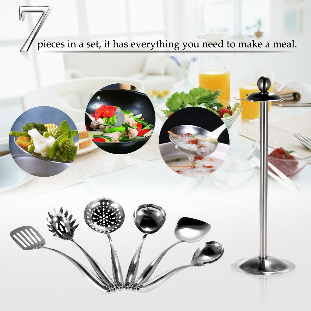 7pcs/set New Cooking Kitchen Utensil Stainless Steel Essential Set Kitchen Utensil Set Kitchen Gadget Kitchenware with Stand(China (Mainland))