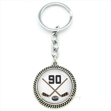 Exquisite popular sports style fine jewelry keychain Ice Hockey Player Jersey Number 90 pendant key ring jewelry boy gift T431(China (Mainland))