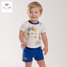 DB3936 dave bella summer baby boys sports clothing set kids Olympic series clothes boys cool soft clothing set kids football set