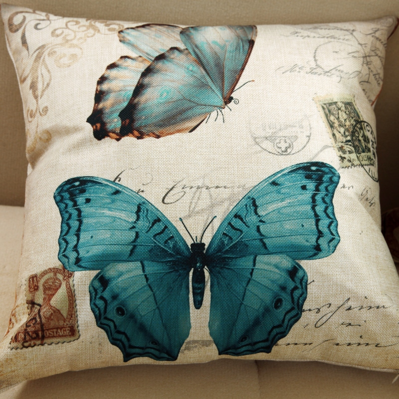 45x45cm Hot Selling 2015 New 3D Butterfly Pattern Cushion Cover Pillowcase Pillow Cover Birds For Decoration Vintage Coussin(China (Mainland))