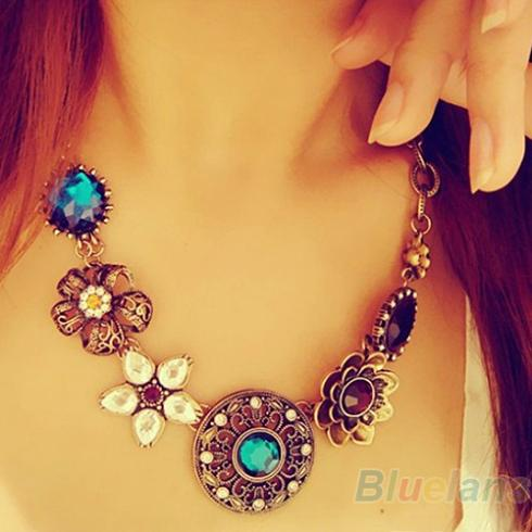 Retro Vintage European Style Gorgeous Austria Turquoise Crystal Flowers Bib Statement Necklace for Wedding Party 045I(China (Mainland))