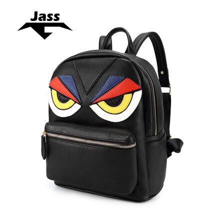 2015 JASS cartoon women emoji backpack big eyes decorative Litchi leather high quality new style unique design brand new(China (Mainland))
