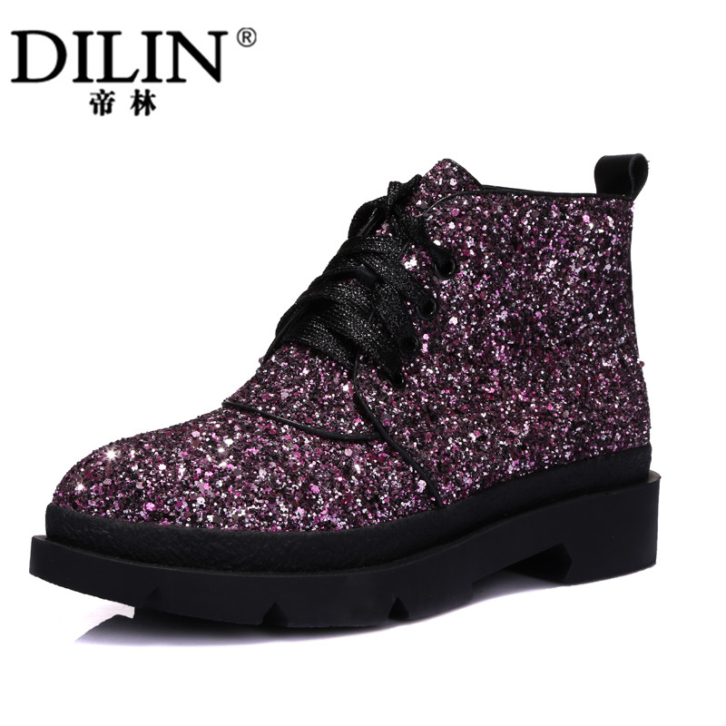 Autumn and Winter Woman Fashion Boots 2015 New British Style Short Boots Glitter Decoration Lace-up Shoes<br><br>Aliexpress