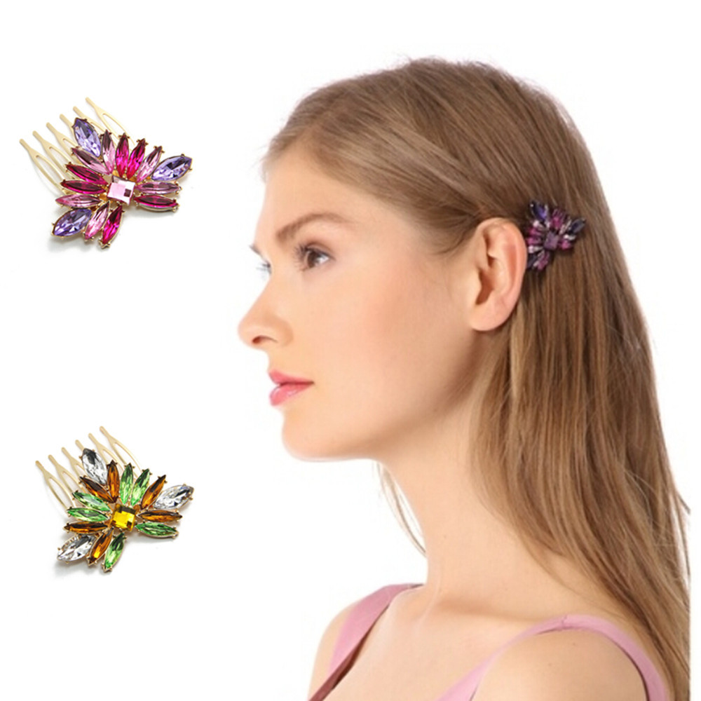 2016 New Colorful Rhinstone Hairpins Comb for hair Flowers Five-toothes Boho Hairbrush Purple Green Hair Accessories CF110(China (Mainland))