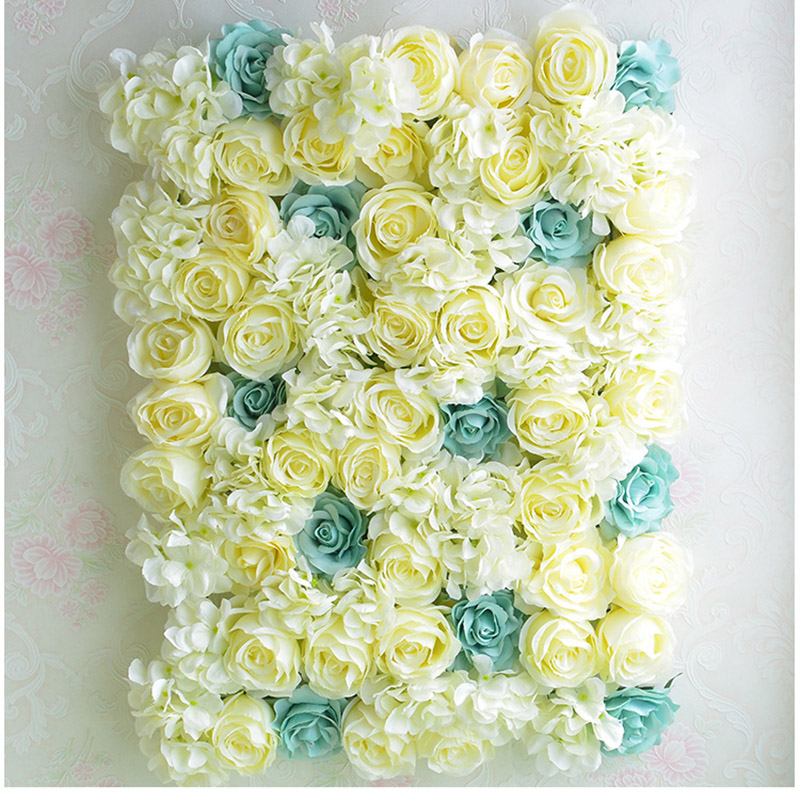 Rose Wall Artificial silk flower yellow blue wedding background lawn pillar flower road lead home market decoration via EMS ship(China (Mainland))